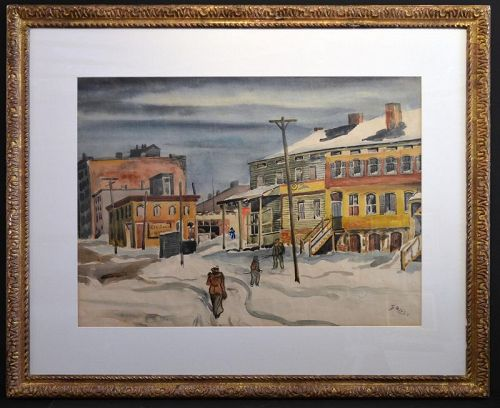 Emil Ganso painting, City scape in winter