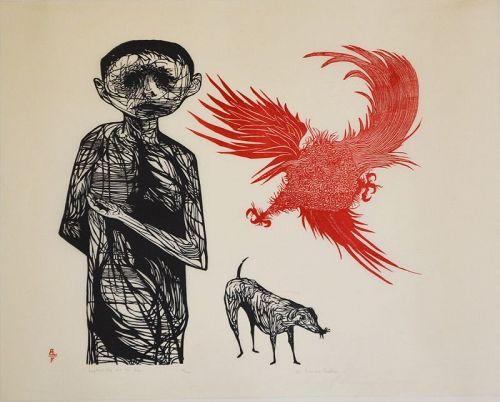 Leonard Baskin wood block, Frightened Boy and Dog