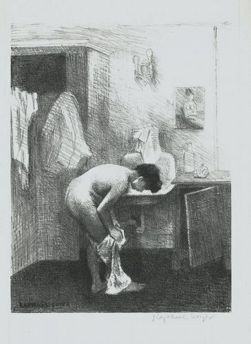 Nude in Interior, Raphael Soyer, lithograph, 1954