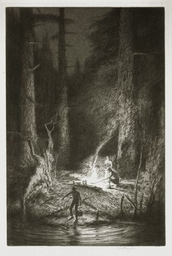 Kerr Eby etching, Light in the Woods