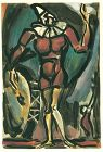 Color Rouault etching, Clown au timbale