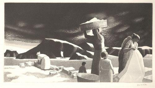 J. J. McVicker etching, Tropical Wash Day