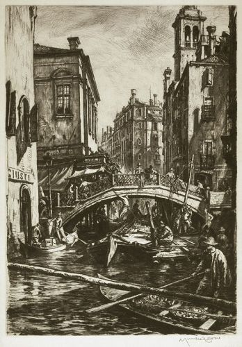 Muirhead Bone etching, Venice, Canal and Bridge