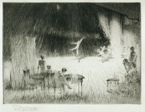 Troy Kinney etching, The Rehearsal, 1929