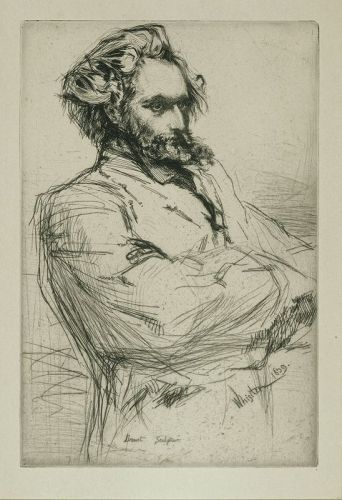 James Whistler etching, Drouet, Sculptor, 1859