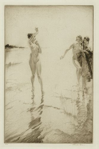 William Russell FLint etching, Gleaming Sands