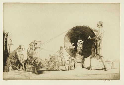 William Russell Flint etching, Aragonese String Makers, pencil signed