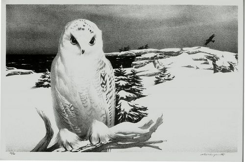 Stow Wengenroth lithograph, Winter Visitor, Greenport, N.Y.
