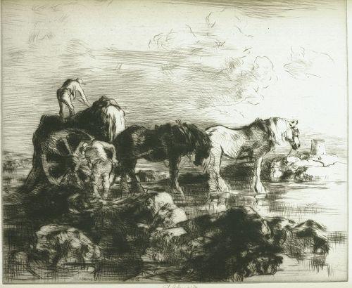 Edmund Blampied etching, The Vraic Season (No 1),pencil signed