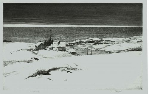 Kerr Eby etching, Island Winter, Rare 1st trial proof