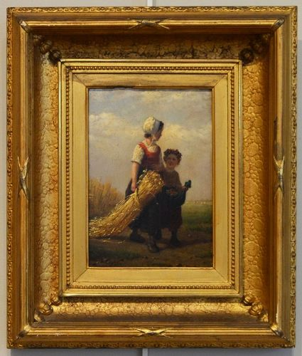 Henri Van Seben painting, The Gleaners, signed