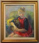 Clara Klinghoffer painting, Gerda and her Cat