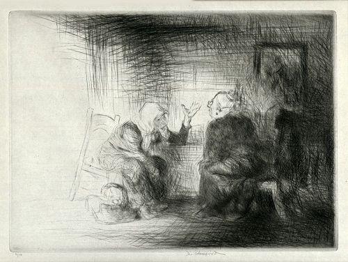Edmund Blampied etching, village News
