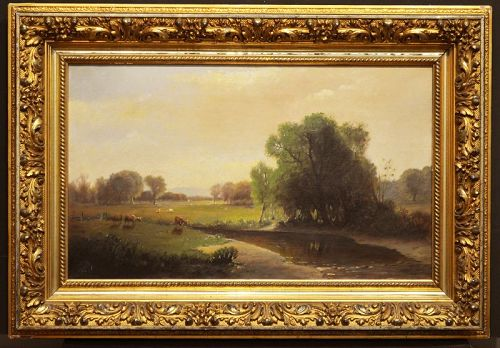 19th century Summer landscape with cows, signed