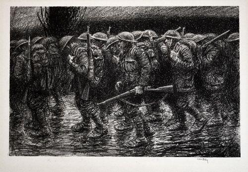 "Kerr Eby lithograph, ""Where do we Go"", world war I"