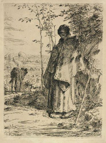 Jean Millet etching, The Large Shepherdess