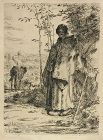Jean Millet etching, The Large Shepherdess