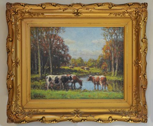 George Hays painting, Cows at a Pond