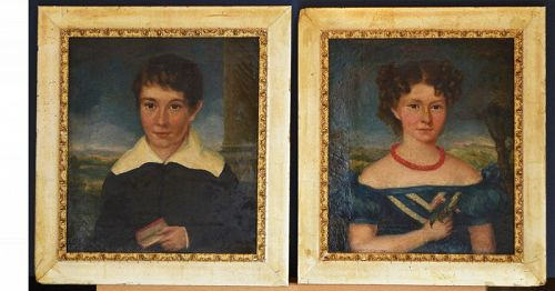 Pair of Folk art Portraits