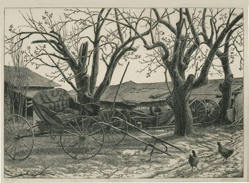 Grace Albee wood engraving, Forgotten Things
