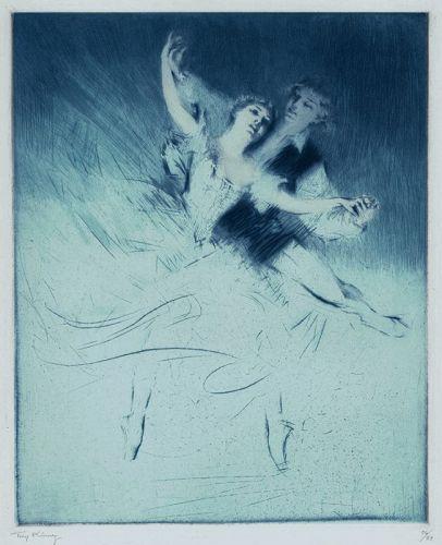 Troy Kinney etching, Lopokova and Nijinski