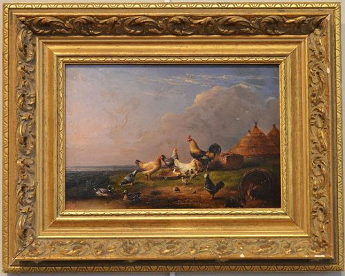Francois Van Severdonck painting, Ducks and Chickens