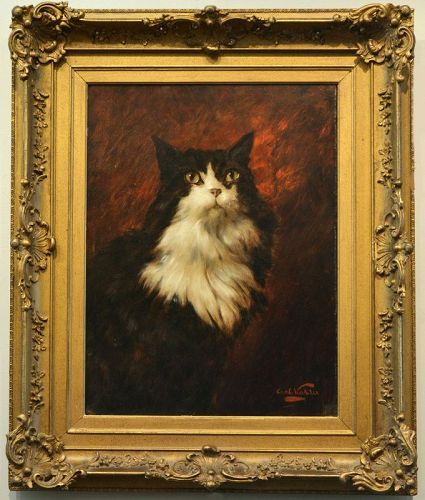 Carl Kahler painting, Cat Portrait, 1880's