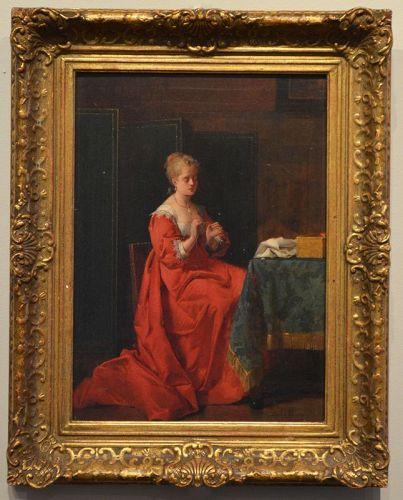 Jean de la Hoese painting, Threading the Needle