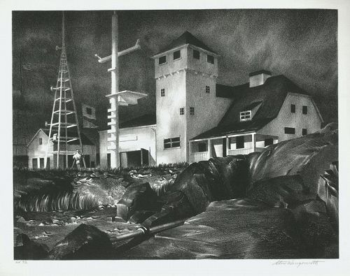Wengenroth lithograph, Coast Guard Station Rockport