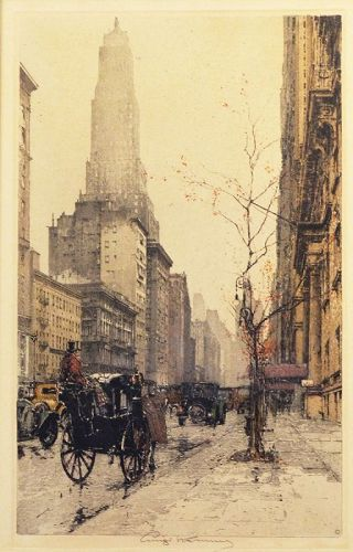 Luigi Kasimir etching, New York, Park Avenue