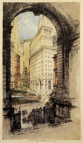 Luigi Kasimir etching, New York, Bowling Green