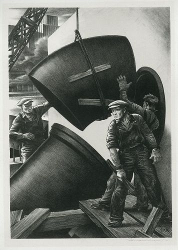 Edward Wilson lithograph, Fitting Pipes, 1941