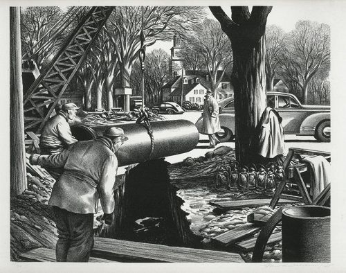 EDWARD WILSON, lithograph, Pipeline construction