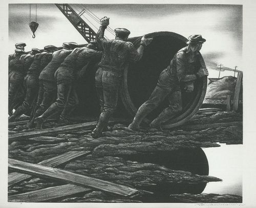 Edward Wilson lithograph, Rolling Pipe, 1942