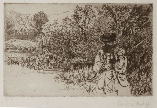 Seymour Haden etching, The Fisherman