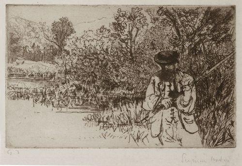 Seymour Haden etching, The Fisherman