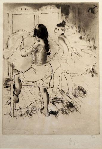 Louis Legrand etching, L'Habillage