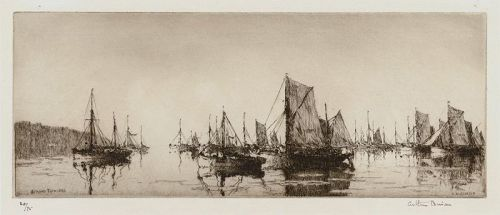 Arthur Briscoe etching,  Brixham Trawlers 1929