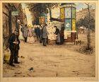 T.F. Simon etching Kiosks on the Grand Boulevards Paris