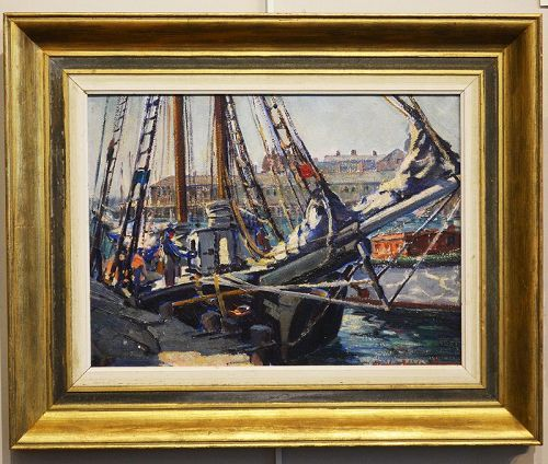 Stanley Woodward painting, Fisherman/s Boats
