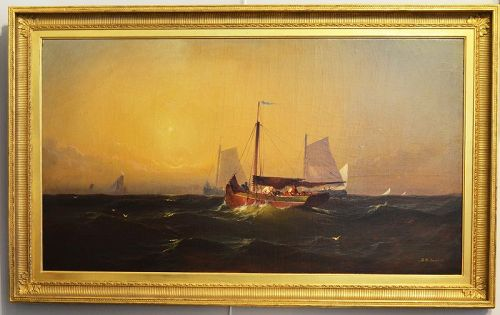 Franklin Briscoe painting, Fishing Boats at Sunset,1873
