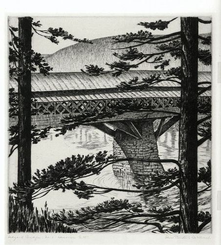 Alice Standish Buell etching, Hanover NH, pencil signed