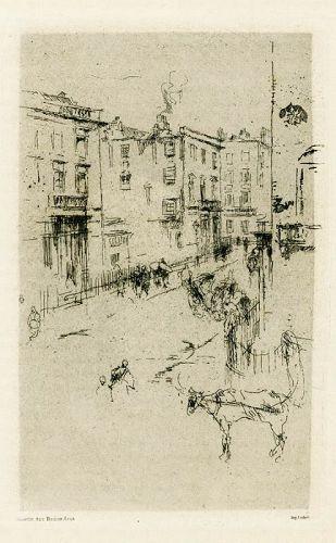 James Whistler etching, Alderney Street, London