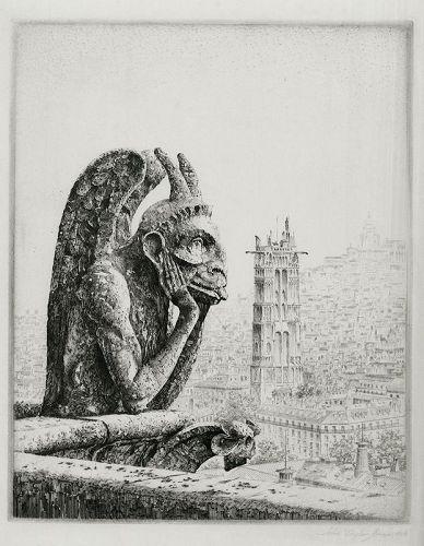 John Taylor Arms etching, Le Penseur de Notre Dame