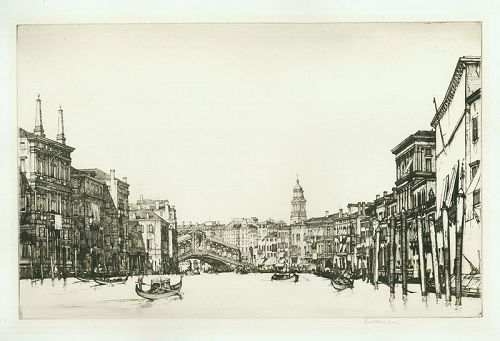 Louis Rosenberg etching, The Grand Canal, Venice