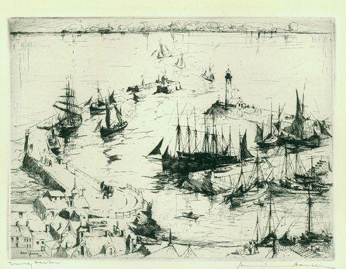 Armin Hansen etching, Snug Harbor, pencil signed
