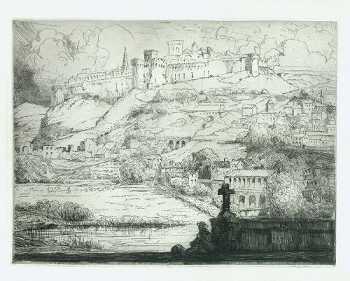 Louis Orr etching, Hillside, Avignon France