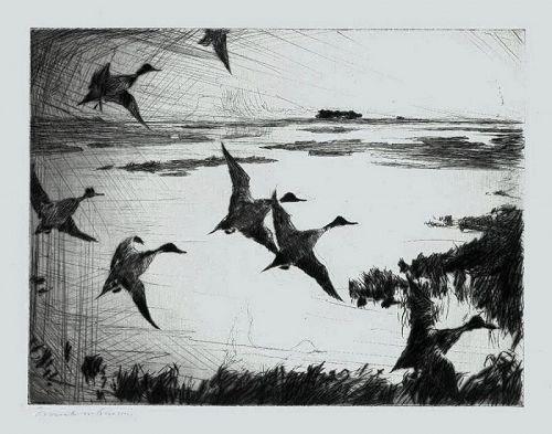 Frank Benson etching, Over Sunk Marsh, 1920
