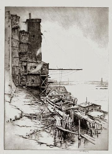 Kerr Eby etching, Sutton Place, N.Y.1922