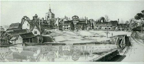John Taylor Arms etching, Reflections at Finchingfield, England
